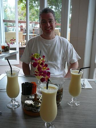 Aaron and lots of mango smoothies
